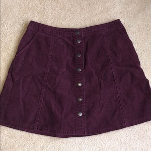 Abercrombie & Fitch Maroon Corduroy Skater Skirt